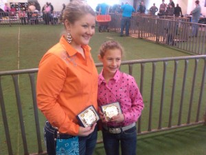 1st place showmanship winners Katlin Williams and Macy Hataway