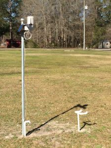 A weather station is used to monitor conditions and leaf wetness