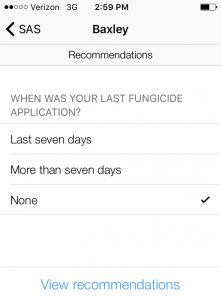 A producer enters their information and the system gives fungicide recommendations