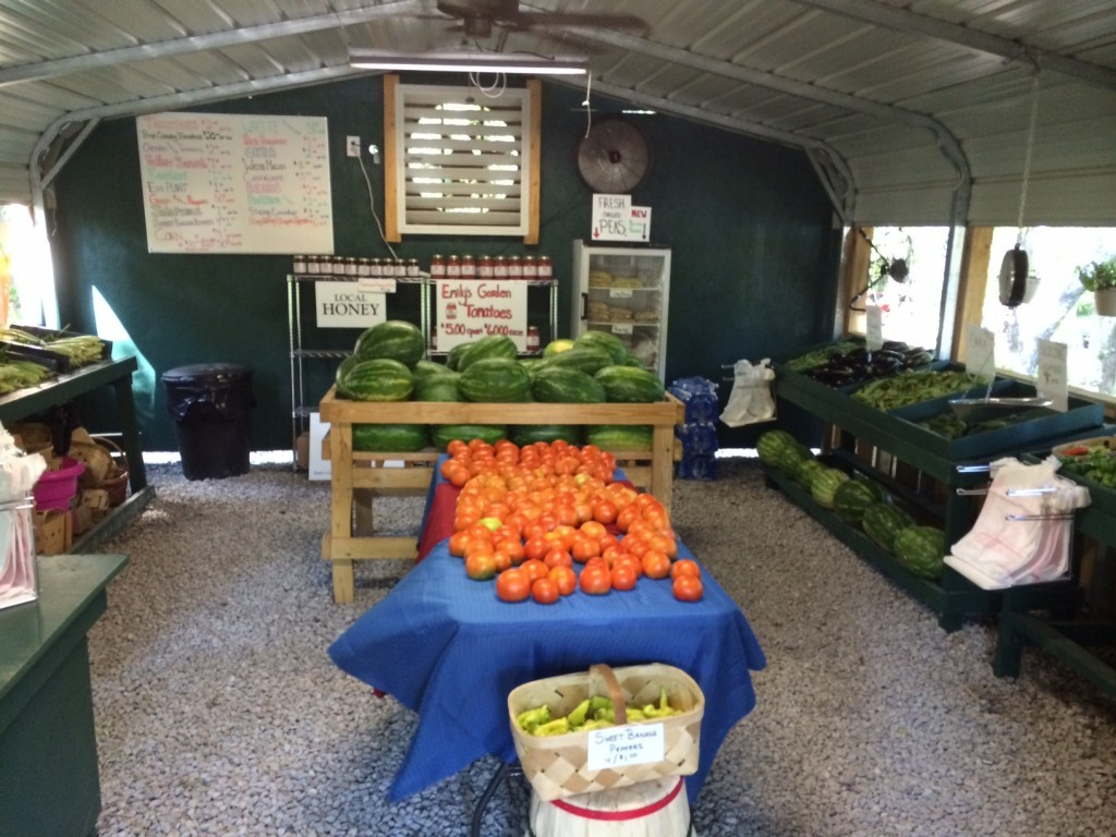 During the peak season, Emily's Garden is barely able to keep the hundreds of pounds of produce they harvest daily on their shelves.
