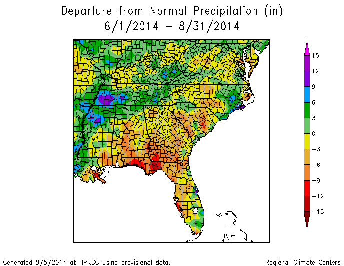 Climate And Agriculture In The Southeast Summer Near Normal - Georgia map 2014