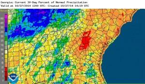 oct 1-27 rainfall percent 2014