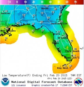 fl forecast lows for Friday 2-20-2015