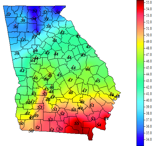 Climate And Agriculture In The Southeast Crabgrass Control - Us soil temperature map