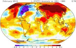 feb 2015 global temperature anomalies