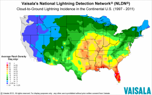 cloud to ground lightning map