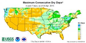 max consecutive dry days 4-5-2015