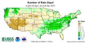 number of rain days usgs 4-5-2015