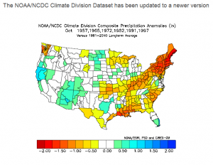 NOAA analog forecast for October for strong El Nino years