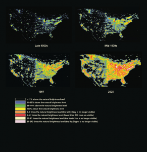 changes in light pollution with scale