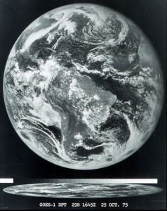 The first image obtained from the GOES-1 satellite on October 25, 1975.  Source: NOAA