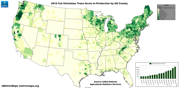 Climate and agriculture in the southeast where does your for Where do christmas trees come from
