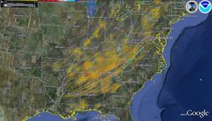 April 27, 2011 tornado tracks.  Source: NOAA NSSL/Google Earth
