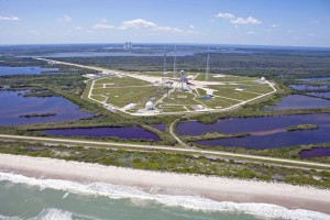The refurbished Launch Complex 39B at Kennedy Space Center, which is on the ocean and surrounded by marshland, in 2013. Credit Kim Shiflett/NASA via The New York Times
