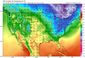 Sunday morning temperatures as forecast by the GFS model.