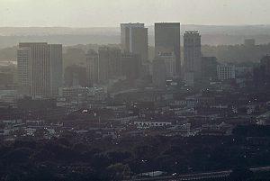 Birmingham skyline with smog, 1972.  Source: Dystopos via Commons Wikimedia