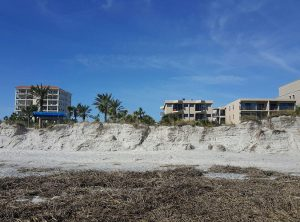 Oct. 14, 2016- The onshore pounding of waves and storm surge from Hurricane Matthew washed away parts of the protective dunes at Jacksonville Beach, Florida. Source: NOAA