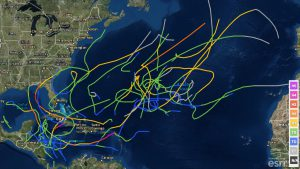 Storm tracks for tropical cyclones that attained an intensity of at least tropical storm status in November since 1950.