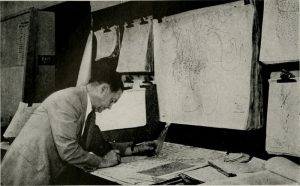 Working on data for a weather chart, c. 1922. INTERNET ARCHIVE/PUBLIC DOMAIN