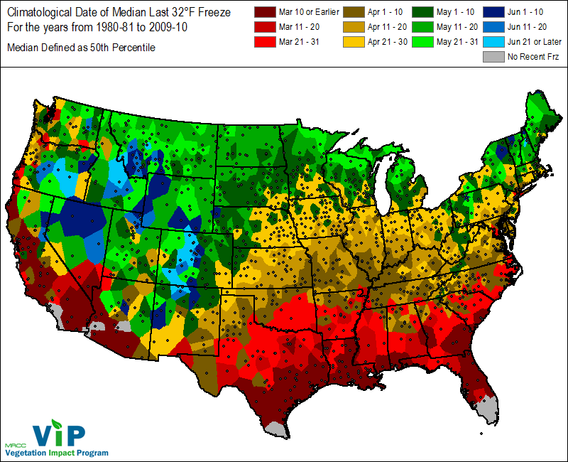 Climate And Agriculture In The Southeast Freeze Maps Available - Us weather climate map