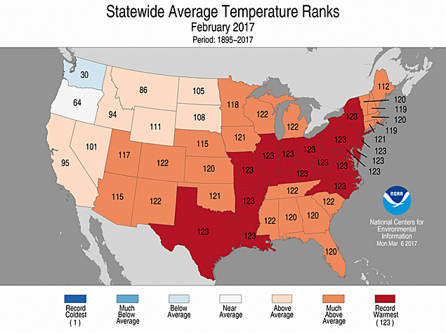 Climate and agriculture in the southeast noaa u s had for Warm places to visit in december in usa