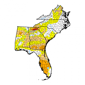 Drought significantly decreases in the Carolinas, Virginia and south Florida but expands in other ar…