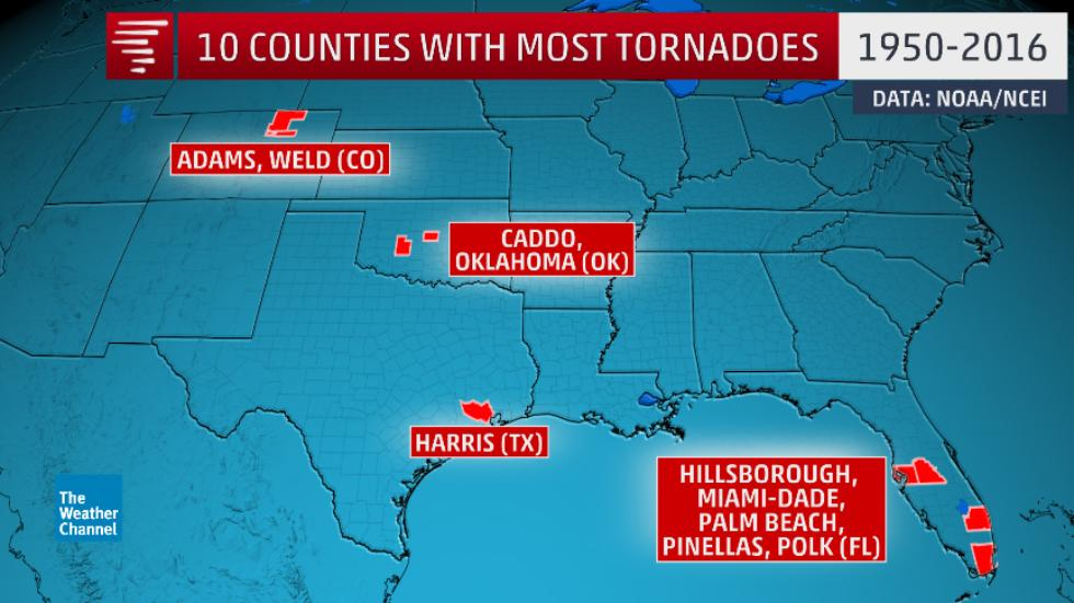 You Can Read More About What Was Calculated At Https Weather Com Storms Tornado News Most Tornado Prone Us Counties