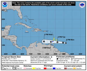 Tropical Storm Don poses no threat to the US