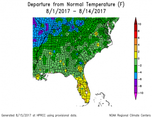 So far August is wetter and cooler than normal for most parts of Southeast