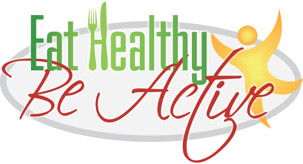 Text: Eat Healthy Be Active