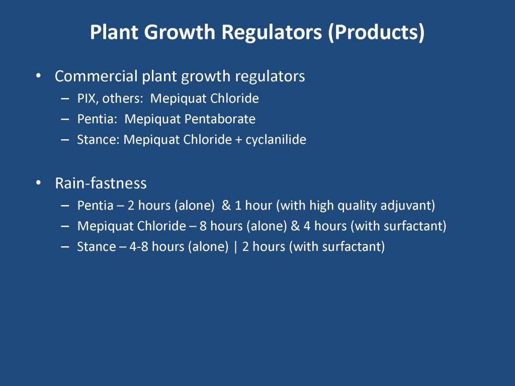 Here is the chart showing the rainfast times of cotton PGR's
