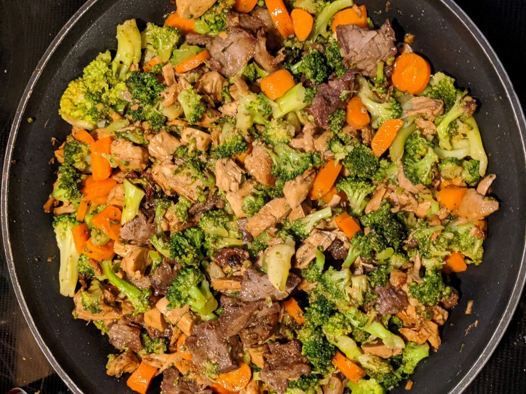 Picture of broccoli, carrots, beef, and chicken in a frying pan.