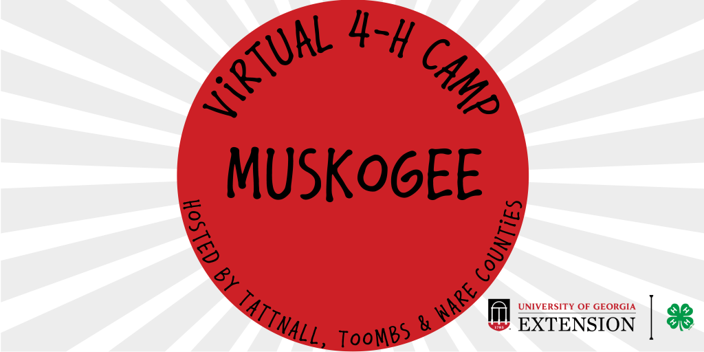 This photo shows the UGA Extension logo as well as the Virtual 4-H Camp logo for the Muskogee Tribe.