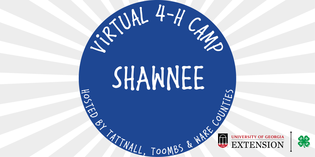 This image shows the UGA Extension logo as well as the Virtual 4-H Camp logo for the Shawnee Tribe.