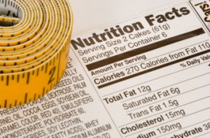 Nutrition Facts and tape measure