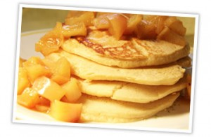 Pancakes with apple topping