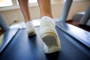 Feet on a treadmill