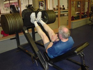 Dr. Bailey doing leg presses