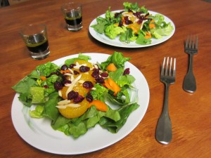 two plates with salad