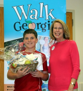 Kaleb received the top youth walker award in Bibb County