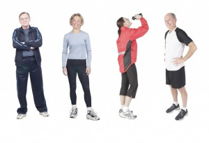 People wearing different types of workout attire