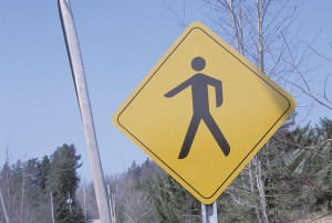 Road sign of pedestrian