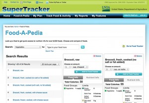 SuperTracker Food-A-Pedia page comparing forms of broccoli