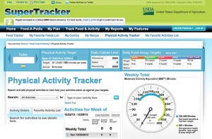 SuperTracker Physical Activity Tracker homepage