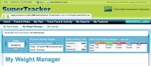 Homepage for USDA SuperTracker's My Weight Manager