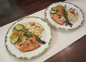 Plate of salmon and roasted vegetables