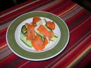 Carrot and zucchini salad on a plate