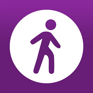 MapMyWalk app icon of purple person in white circle