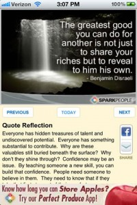 Screenshot from app with quote
