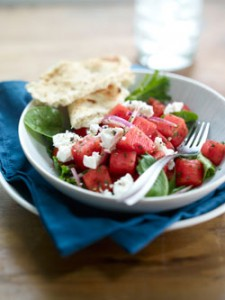 Salad with watermelon and cheese